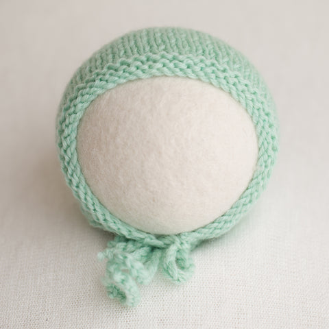 Newborn Knitted Bonnet - Peppermint (4212)