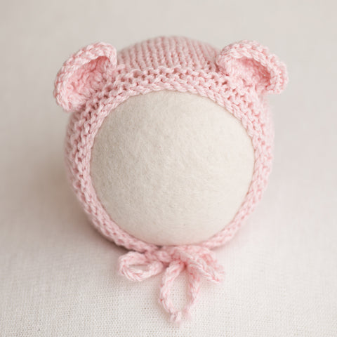 Newborn Knitted Bonnet - Soft Pink 2812