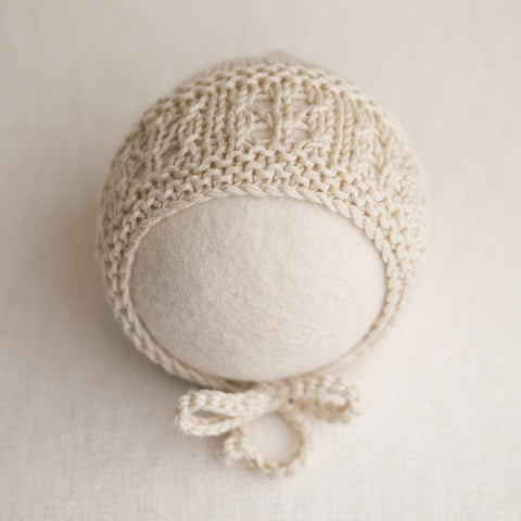 Newborn Knitted Bonnet - Light Beige