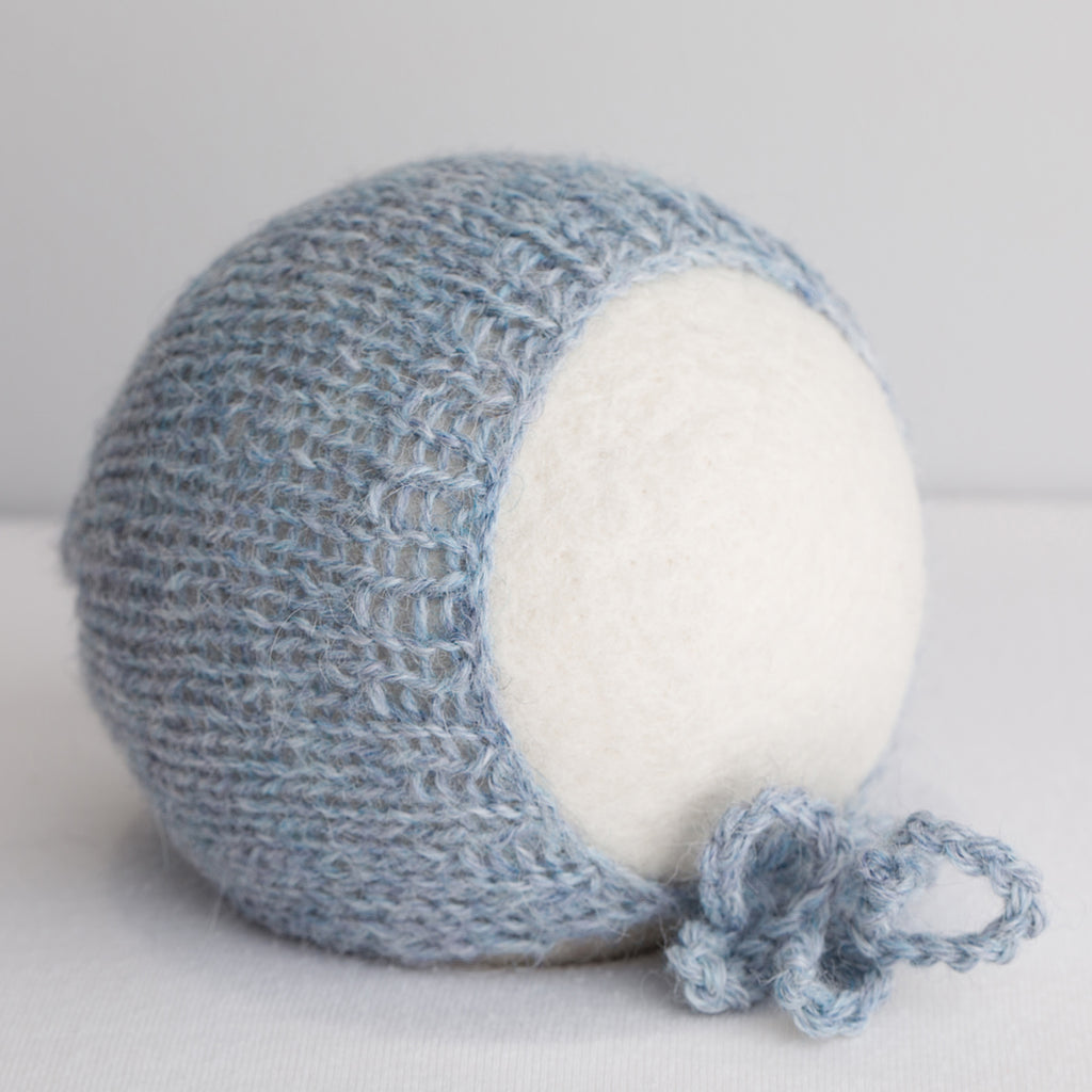 Newborn Knit Bonnet: Steel