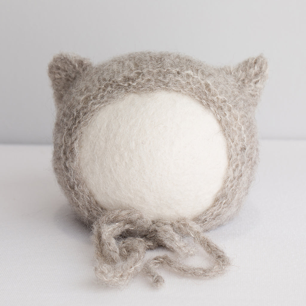 Newborn Alpaca Kitten Knit Bonnet: Warm Grey