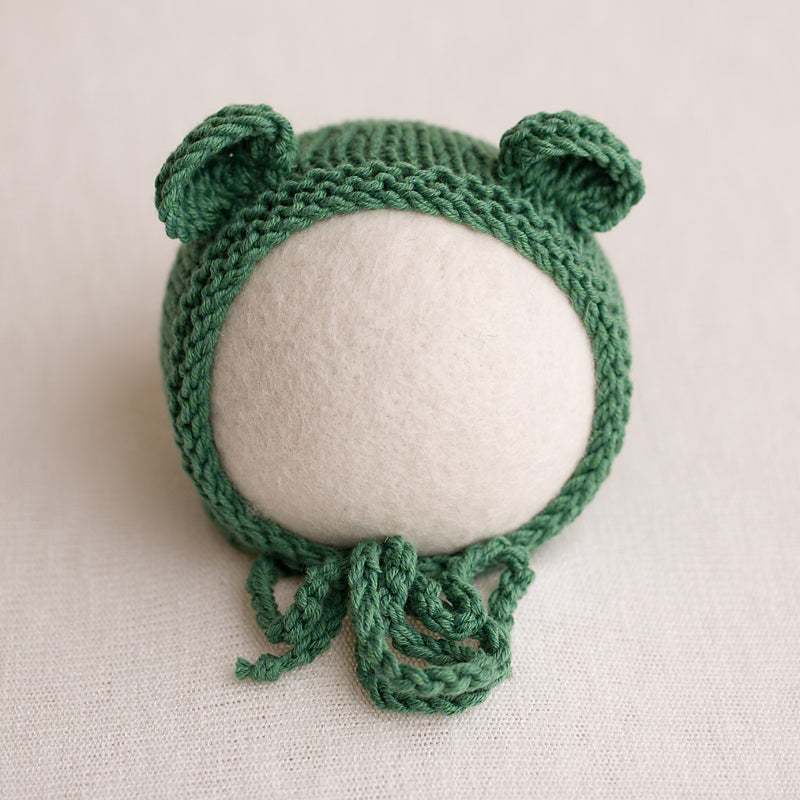 Newborn Knitted Bear Bonnet - Forrest Green 11