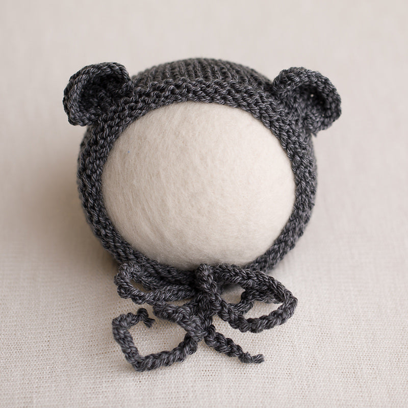 Newborn Knitted Bear Bonnet - Grey 19