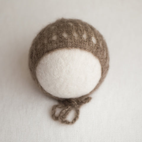 Newborn Kid Silk Bonnet - Mink