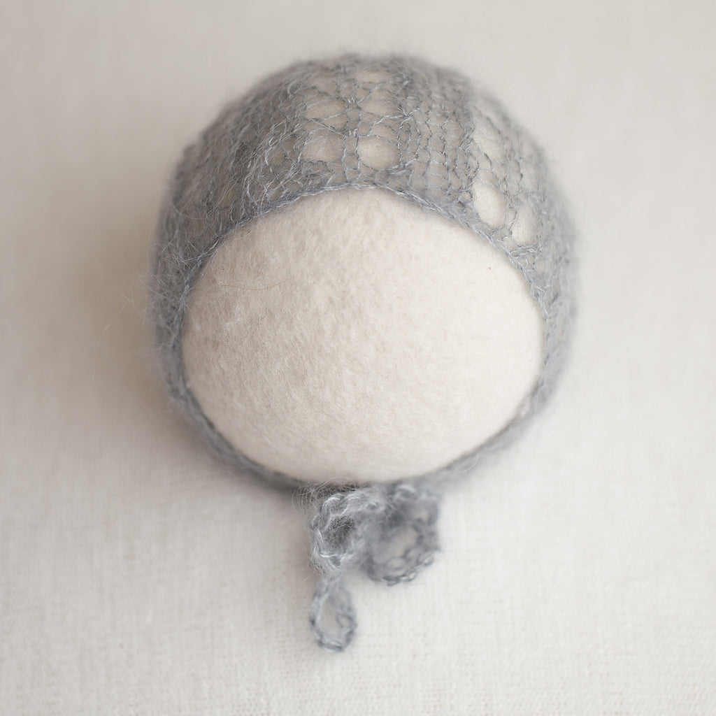Newborn Kid Silk Bonnet - Steel