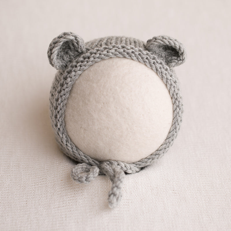 Newborn Knitted Bear Bonnet - Light Grey 05