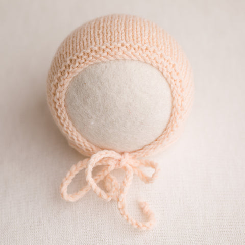 Newborn Prop Knitted Bonnet- Peach