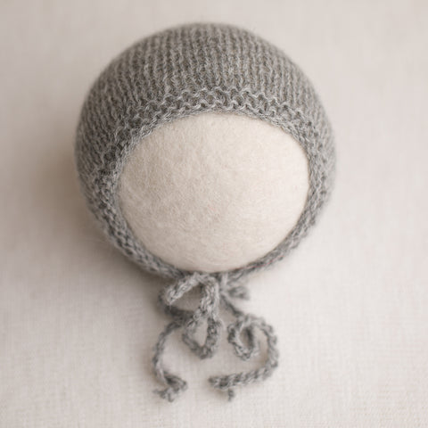 Newborn Prop Knitted Bonnet- Light Grey