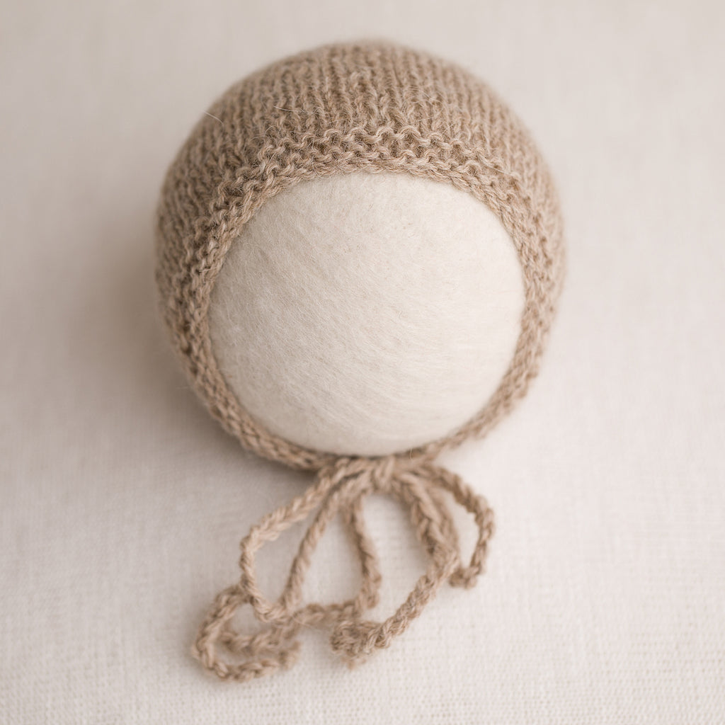 Newborn Prop Knitted Bonnet- Light Camel