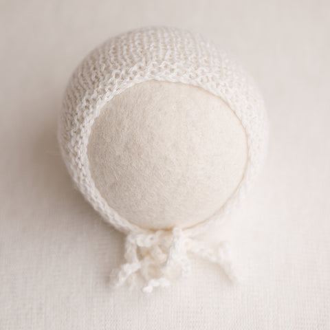 Newborn Prop Knitted Bonnet- White