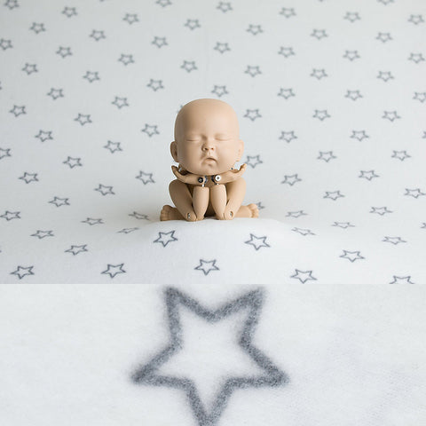 Newborn Fabric Backdrop, Wrap And Bonnet Set -  Stars - White