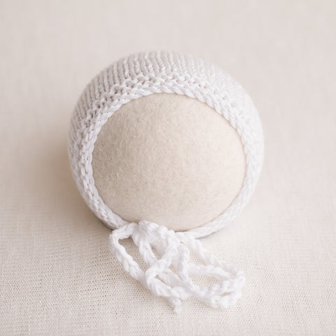 Newborn Knitted Bonnet - Pure White