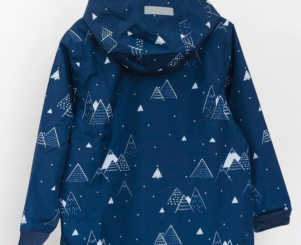 LEA & JOJO NAVY SNOWY MOUNTAINS RAINCOAT.