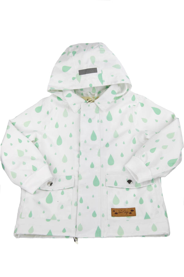 LEA & JOJO WHITE GREEN DROPS RAINCOAT.