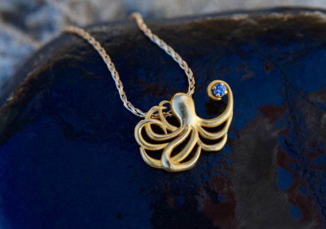 Gold Octopus Pendant