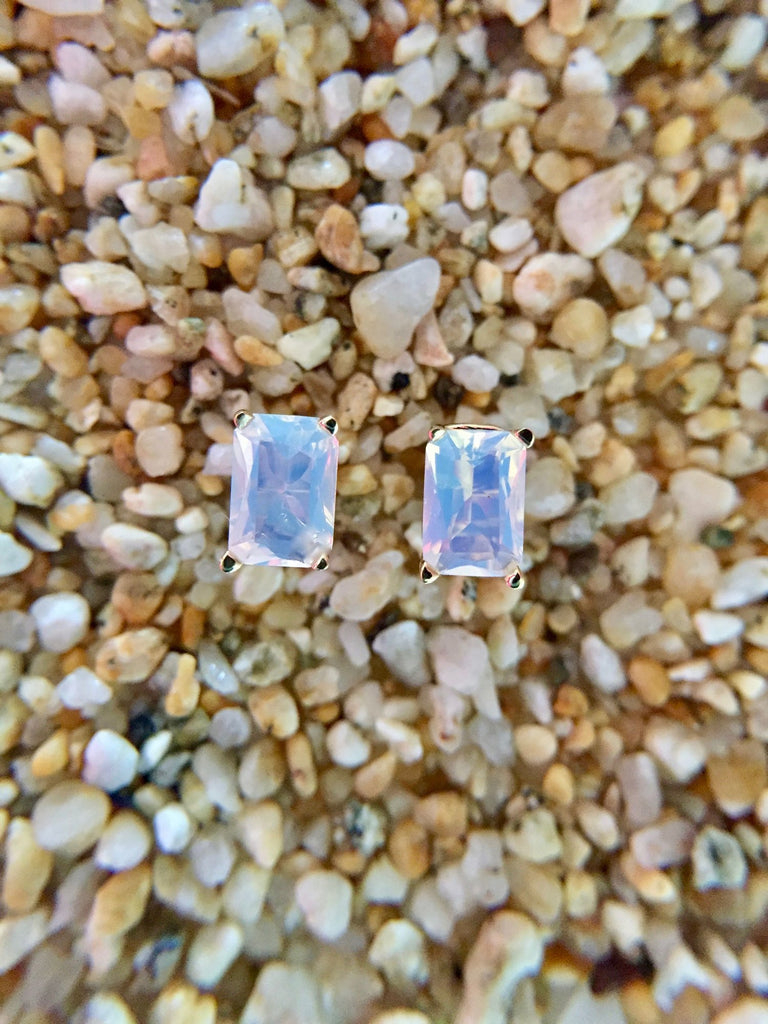Blue Hylite Opal Earrings