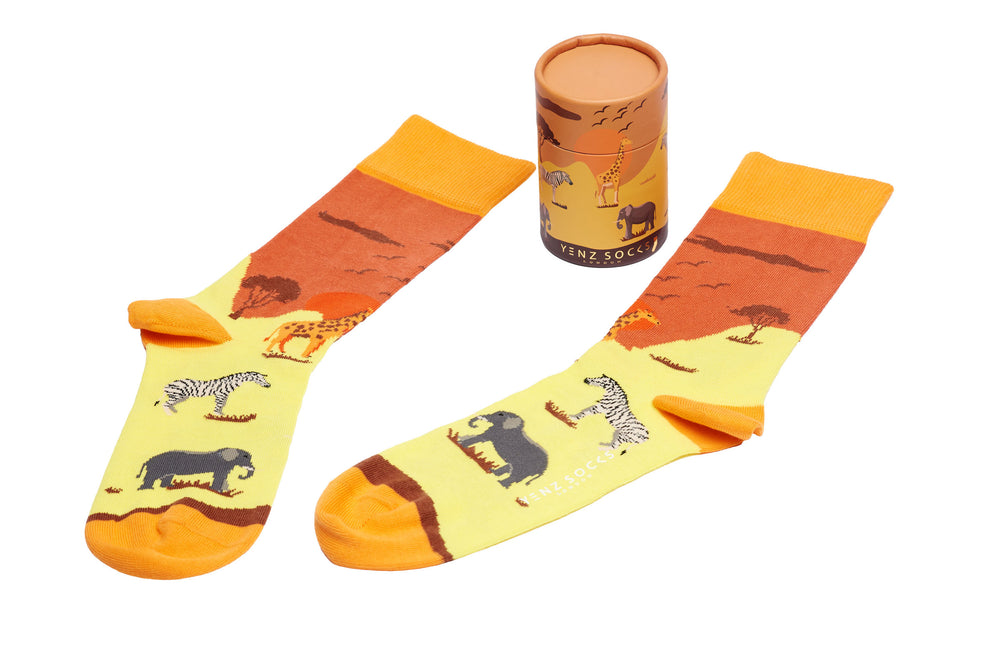Mens safari zebra giraffe elephant design funky socks