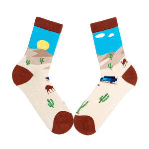 Ladies desert cactus funky socks