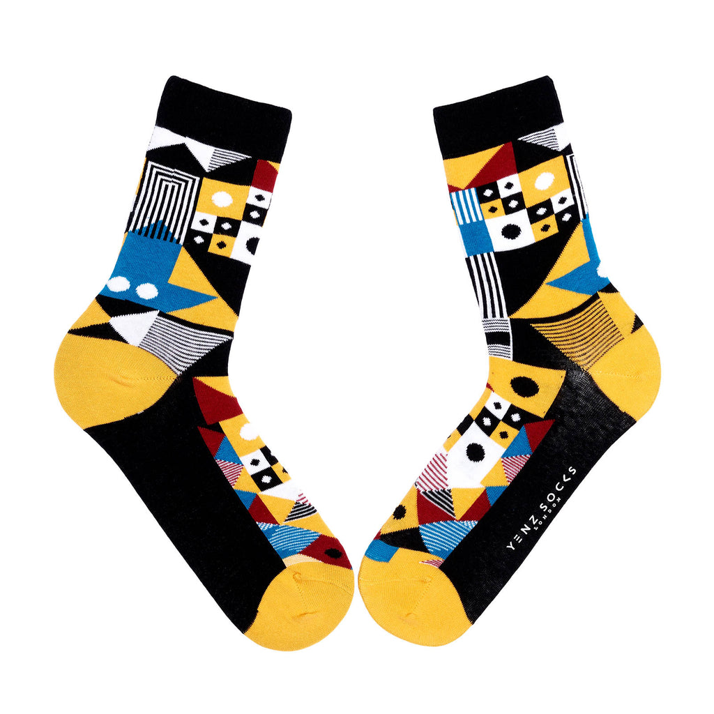 Funky geometric patterned socks