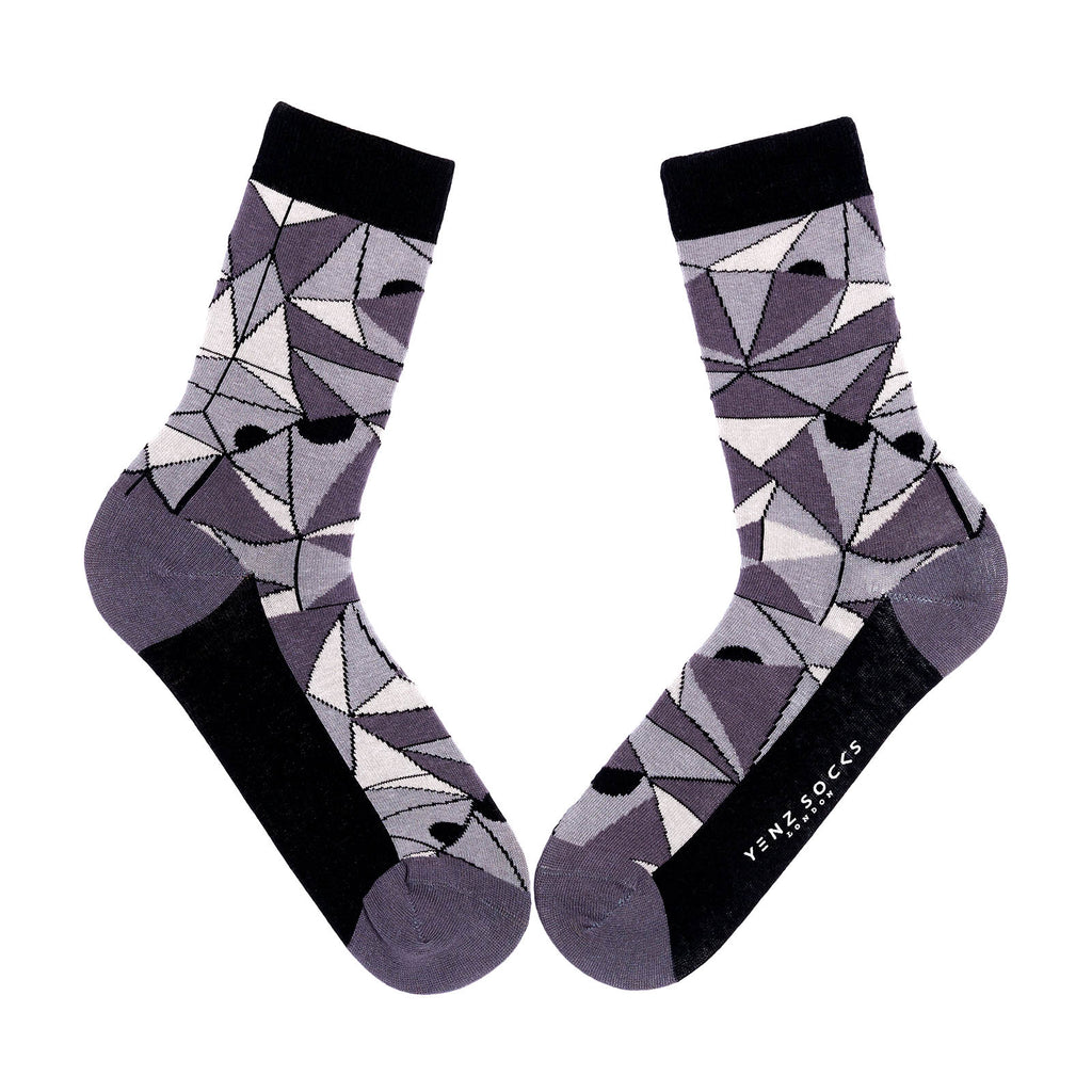 Black and White Triangle Design Socks
