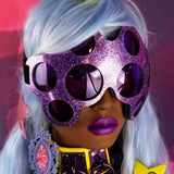 Mauve Glitter and Light Purple Lens Spider Eyes Goggles