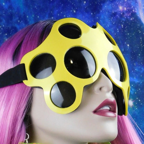 Bright Yellow and Black Spider Eye Goggles