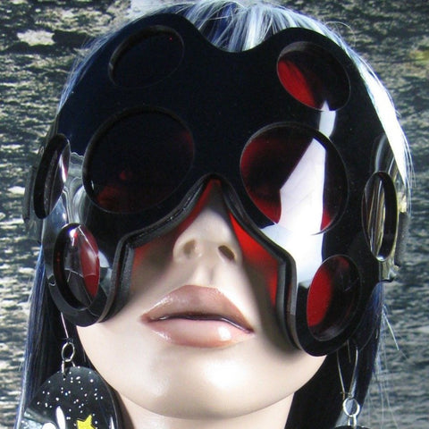 Gloss Black and Red Lens Spider  Eye Goggles