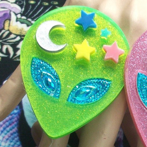 Alien Hair Clip with Moon, Stars and Blue Eyes