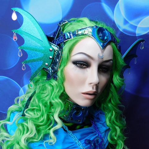 Blue and Green Mermaid Harness with Gem