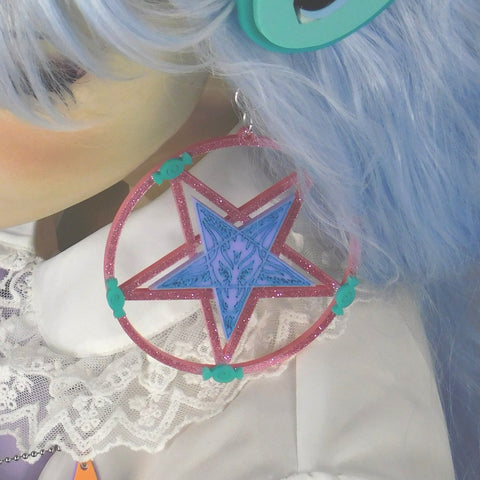 Pastel  Color Baphomet Pentagram Earrings