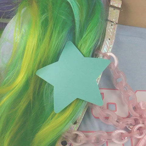 Spearmint Green Matte Star Hair Clip