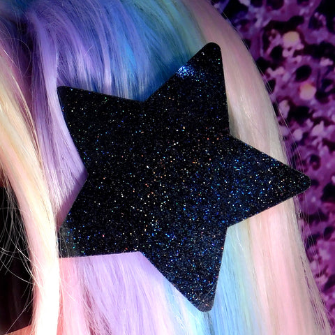Black Hologram Glitter Star Hair Clip
