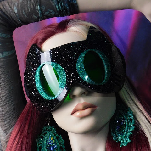Black Galaxy Glitter with Emerald Hologram Cat Goggles