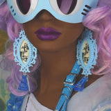 Candyfloss Blue and Ivory Alice Drink Me Earrings