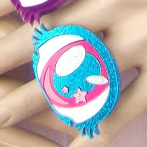 Sky Blue Glitter and Pink Cyclops Eye Ring