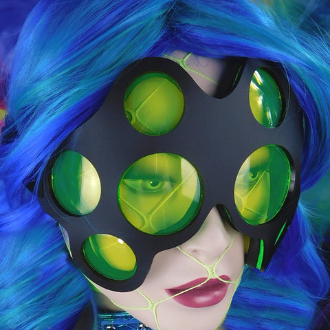 Matte Black and Neon Green Spider Eye Goggles
