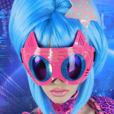 Neon Pink, Light Pink and Blue Hologram Glitter Tiger Goggles