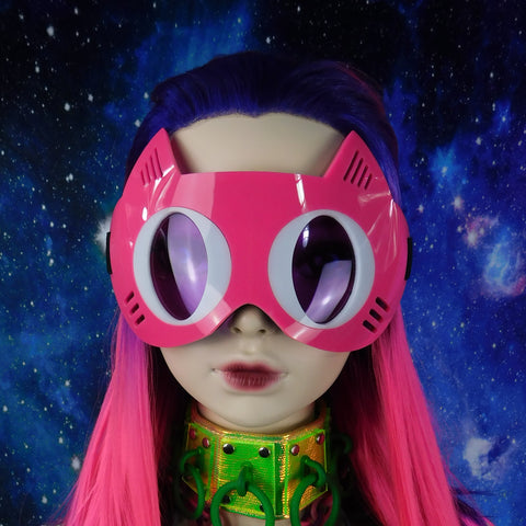 Neon Pink with Purple Cat Goggles