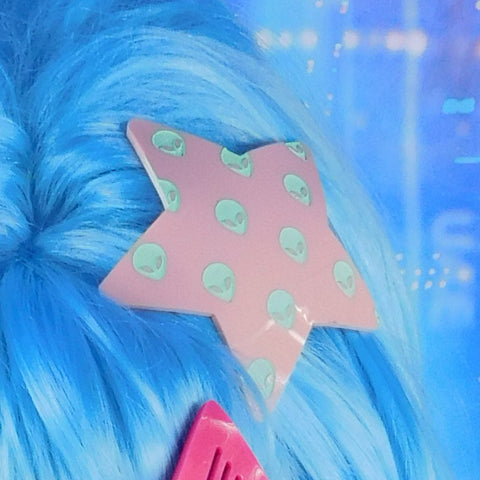 Light pink and Mint Alien Star Hair Clip