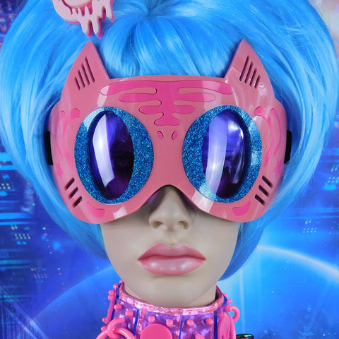 Light Pink, Neon Pink and Blue Hologram Glitter Tiger Goggles