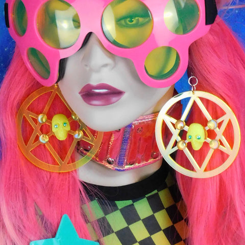 Neon Yellow Unicursal Hexagram Earrings with Skulls, Faux Pearls and AB Rhinestones