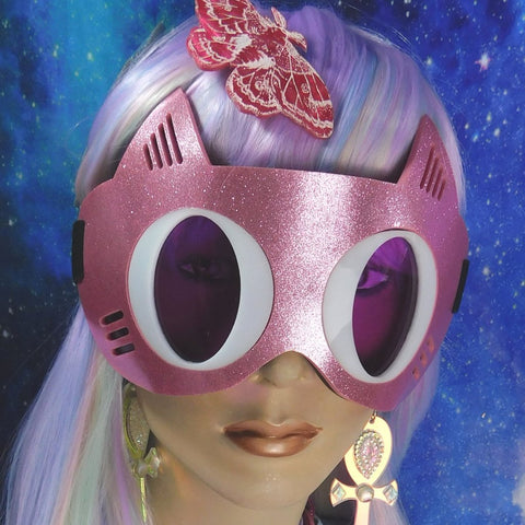 Pink Glitter with Purple Cat Goggles