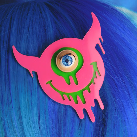 Hot Pink and Apple Green Drippy Smiley Devil Hair Clip
