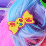 Yellow, Hot Pink, and Sky Blue Bow Hair Clip