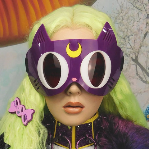 Purple with Yellow Moon and Red Lens Cat Goggles