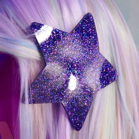 Purple Hologram Glitter Star Hair Clip