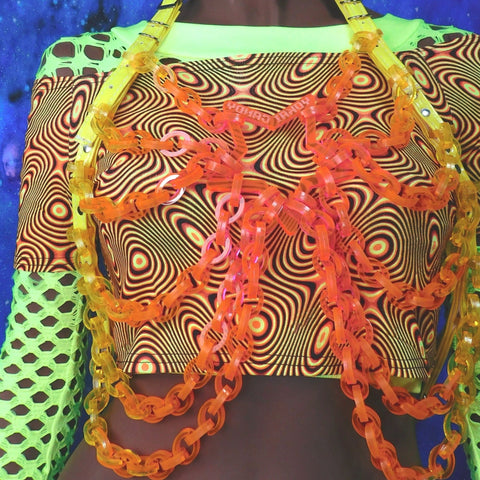 Neon Fire Star Chain Top