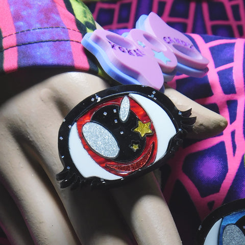 Red Pearl Cyclops Ring