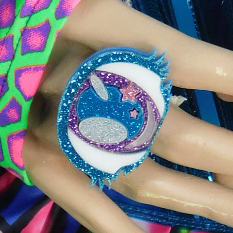 Sky Blue and Mauve Glitter Cyclops Eye Ring