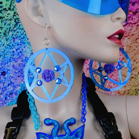 Sky Blue and Purple Rosy Unicursal Hexagram Earrings with AB Rhinestones